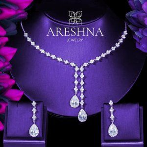 Lariat Swarovski Crystals Bridal Jewelry Set